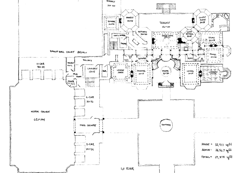 Floor plans to james mega mansion design homes of the for Rich house plans