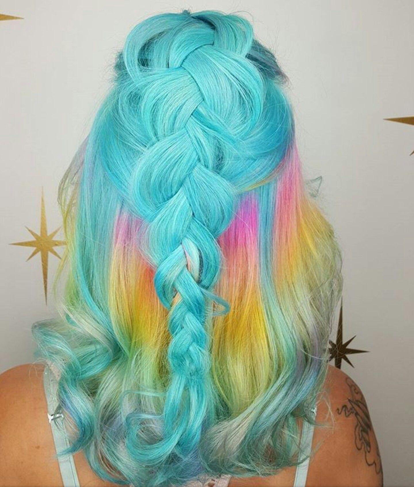 Cabelo azul e arcoíris crazy hair pinterest hair coloring