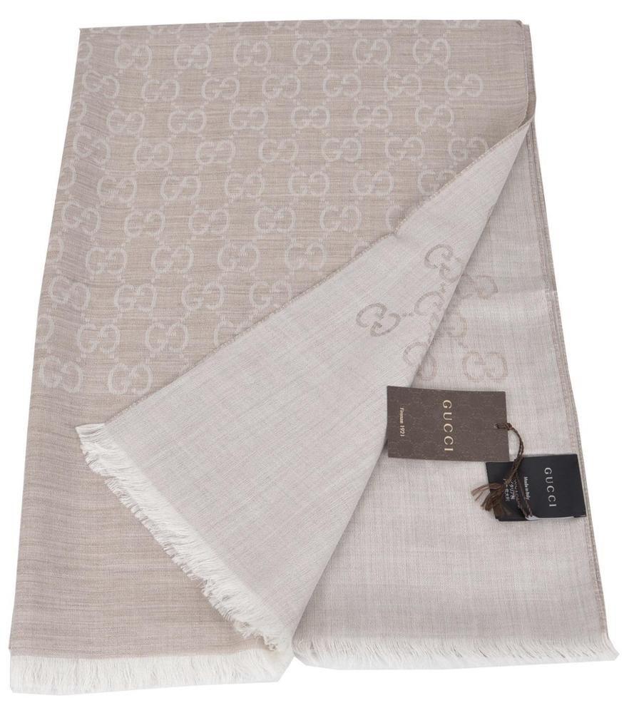 b3f39e1fc4 New Gucci 165903 XL Camel Beige Wool Silk GG Guccissima Scarf Shawl #Gucci…