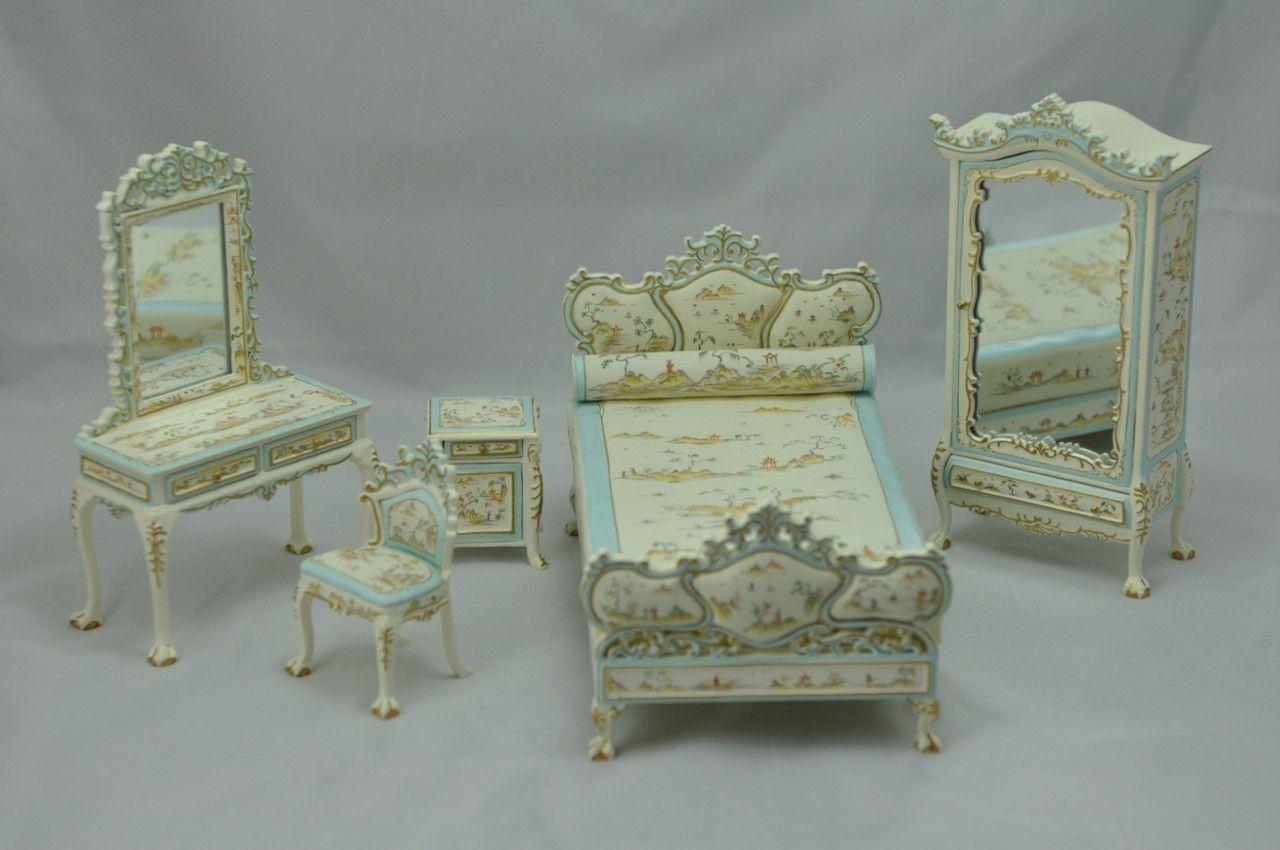 Bespaq Dollhouse Miniature Bedroom Furniture Set Bed Armoire Vanity