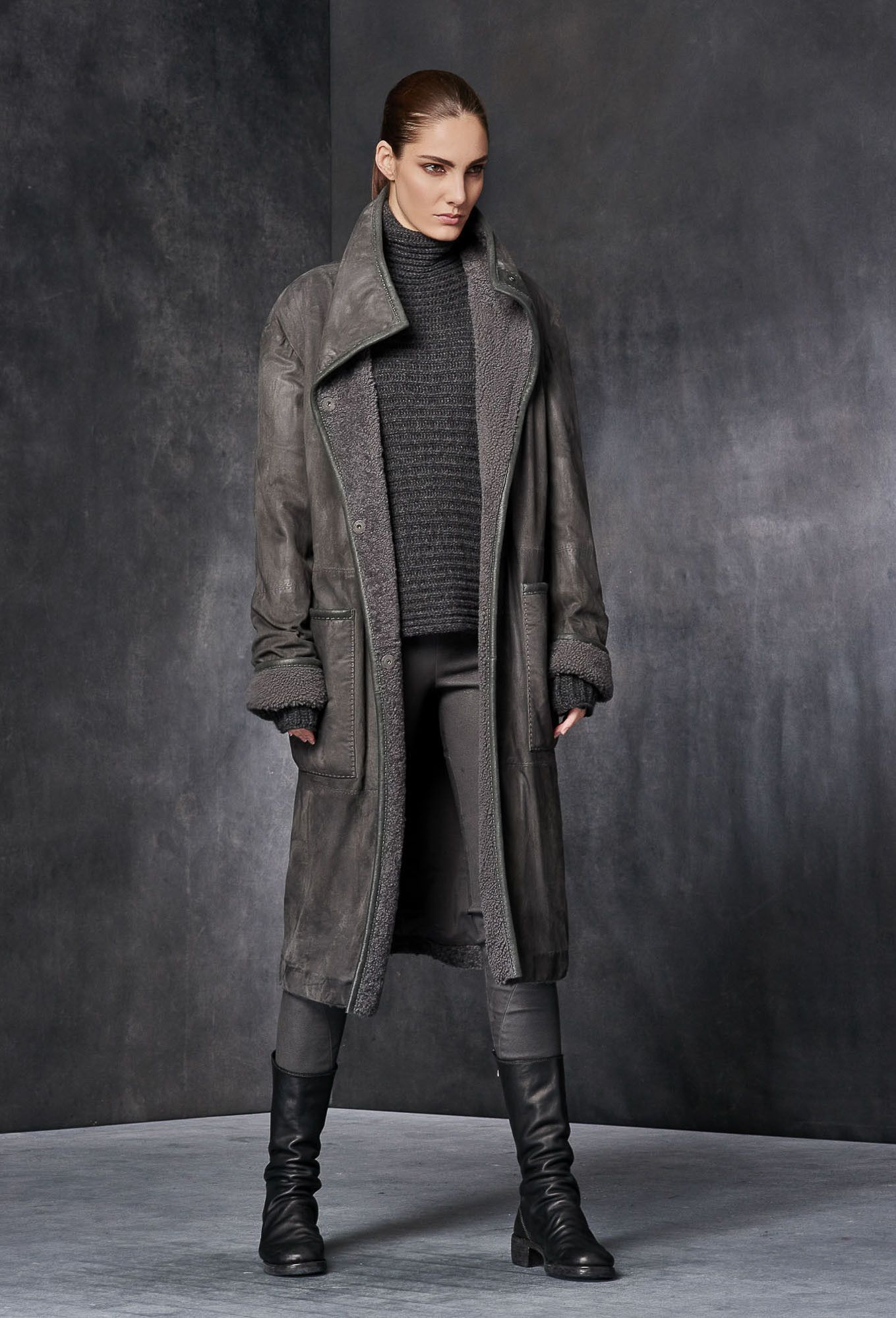 Shearling Trimmed Hand Treated Suede Coat