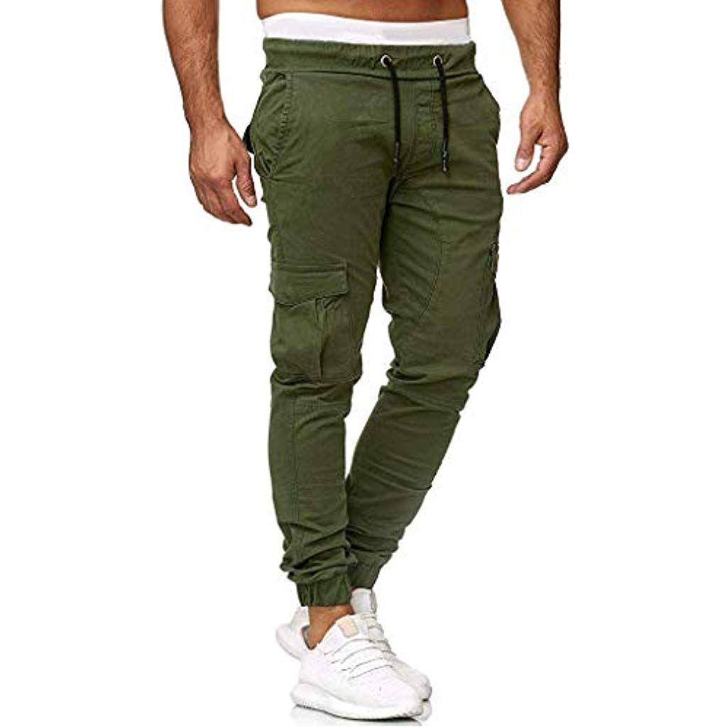 Pantaloni a Righe Da Uomo Sport Palestra Running Jogging Tasche Con Zip Tuta Bottoms