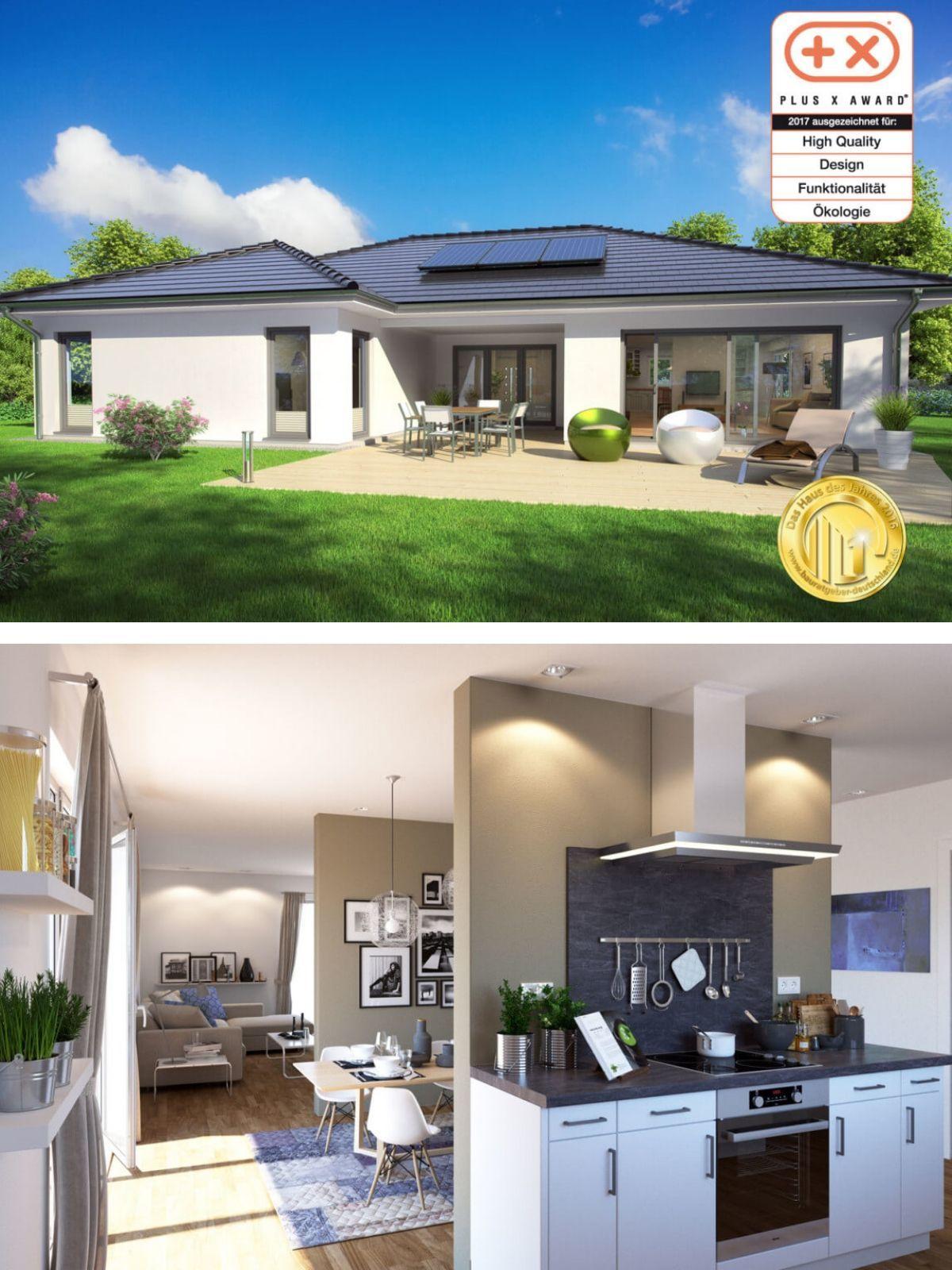 Bungalow Haus Modern Mit Walmdach Architektur In Uform U0026 Grundriss Innen  Mit Offener Küche   Einfamilienhaus Ebenerdig Bauen Fertighaus SH 169 WB  Von ...