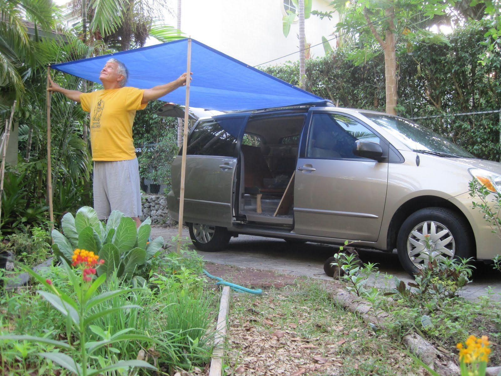 minivan camper conversion little tarp and two bamboo sticks gave