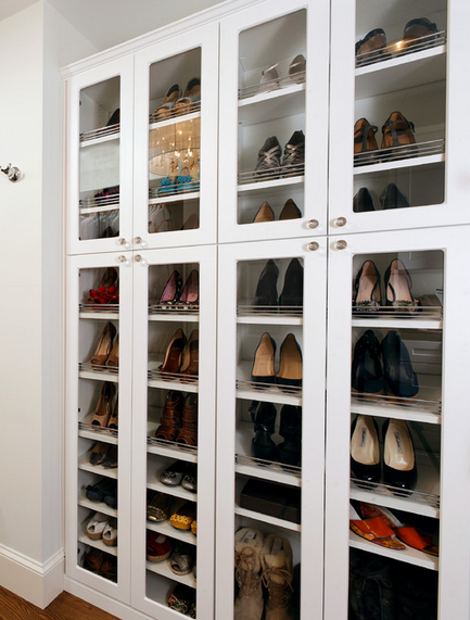 glass doors keep your shoes visible and dust free escape luxury closets pinterest shoe. Black Bedroom Furniture Sets. Home Design Ideas