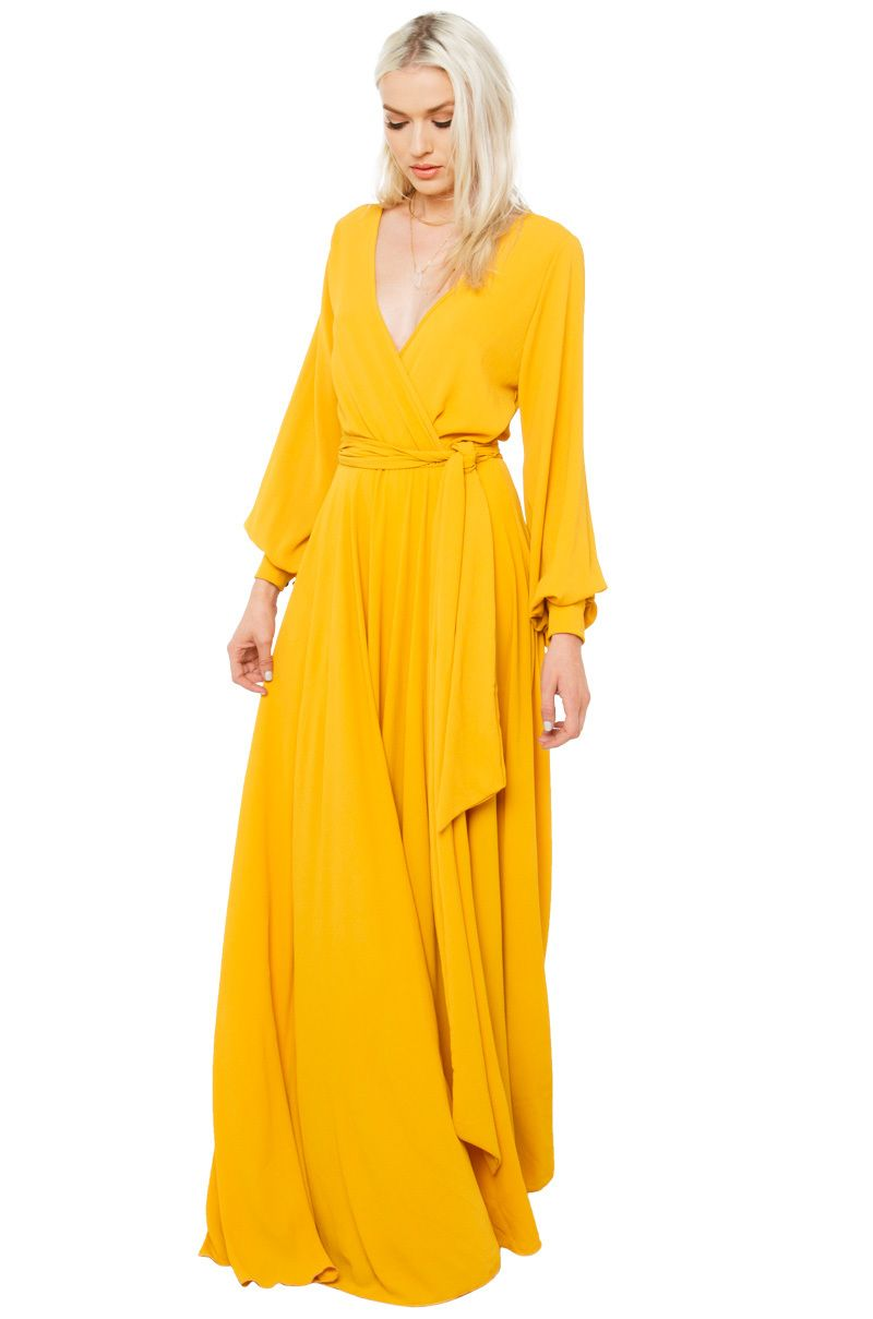 AKIRA\'s Gone With The Wind Mustard Maxi Dress features a plunging ...