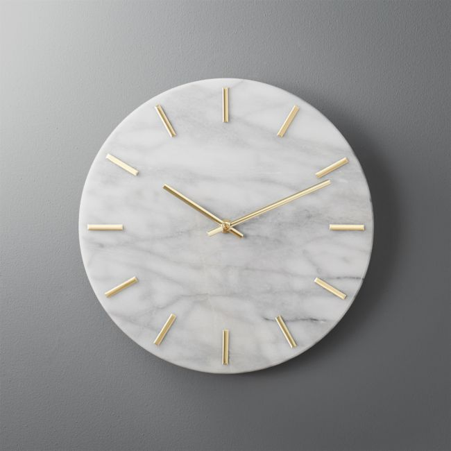 Carlo Marble And Brass Wall Clock Reviews Cb2 Diy Clock Wall Marble Room Marble Room Decor