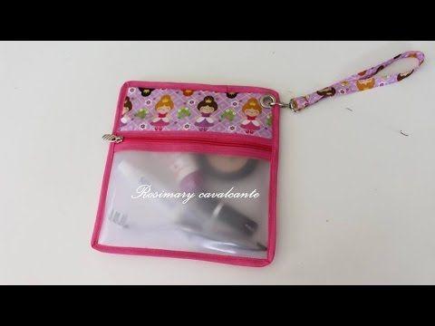 4ebebc1afa9d7 Bolsa organizadora para maquiagem em plástico Vinil translúcido ...