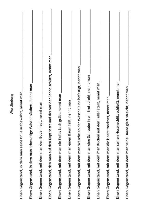Wortfindung durch Satzergänzung (3) - Aphasie | Pinterest