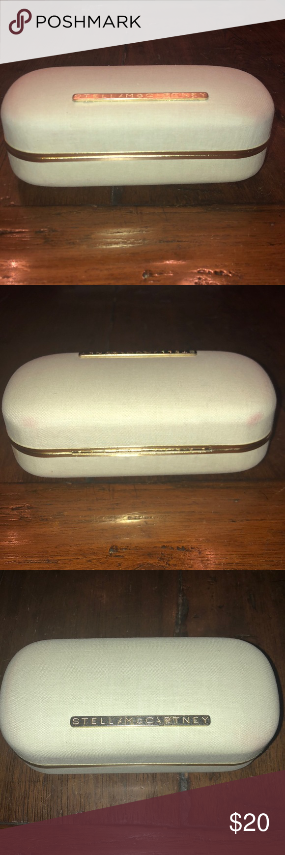 STELLA MCCARTNEY hard eyewear case STELLA MCCARTNEY Hard Eyewear case beige fabric, purple velvet interior, brass hardware. Very lightly loved, comes with wrapped, unused, cloth for cleaning lenses. Beautiful case, great condition, super protective and chic! Stella McCartney Accessories Sunglasses