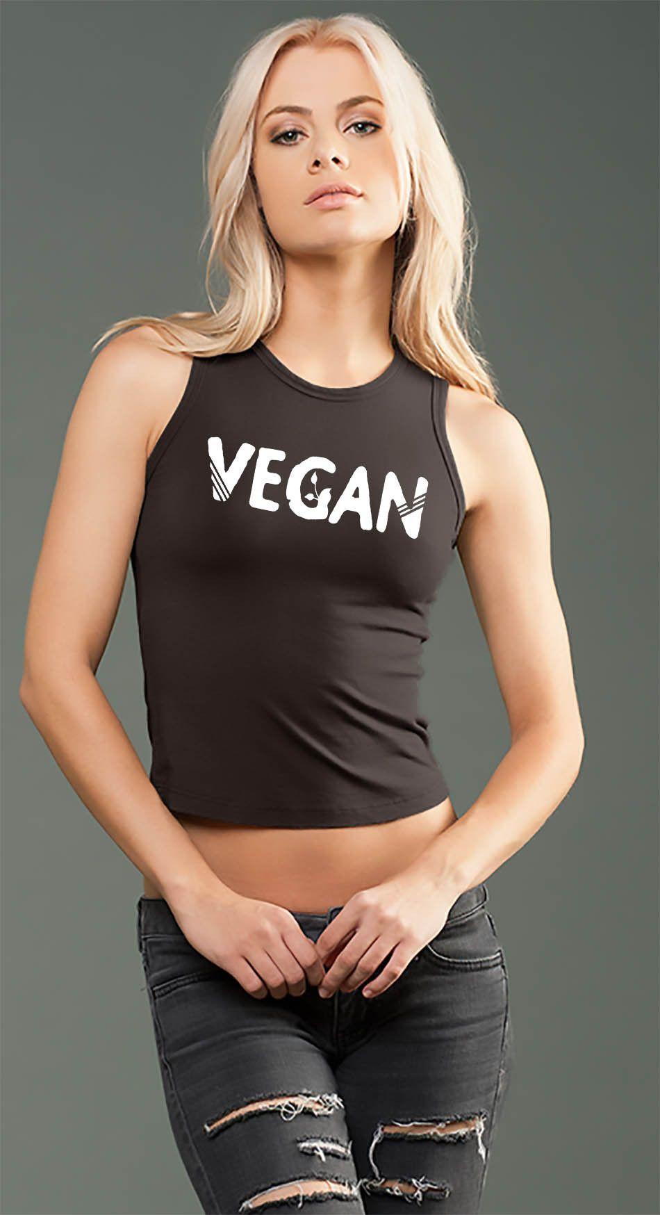 eco-HYBRID™ Spandex Jersey Fitted and Cropped Muscle Tank - Vegan Sprout