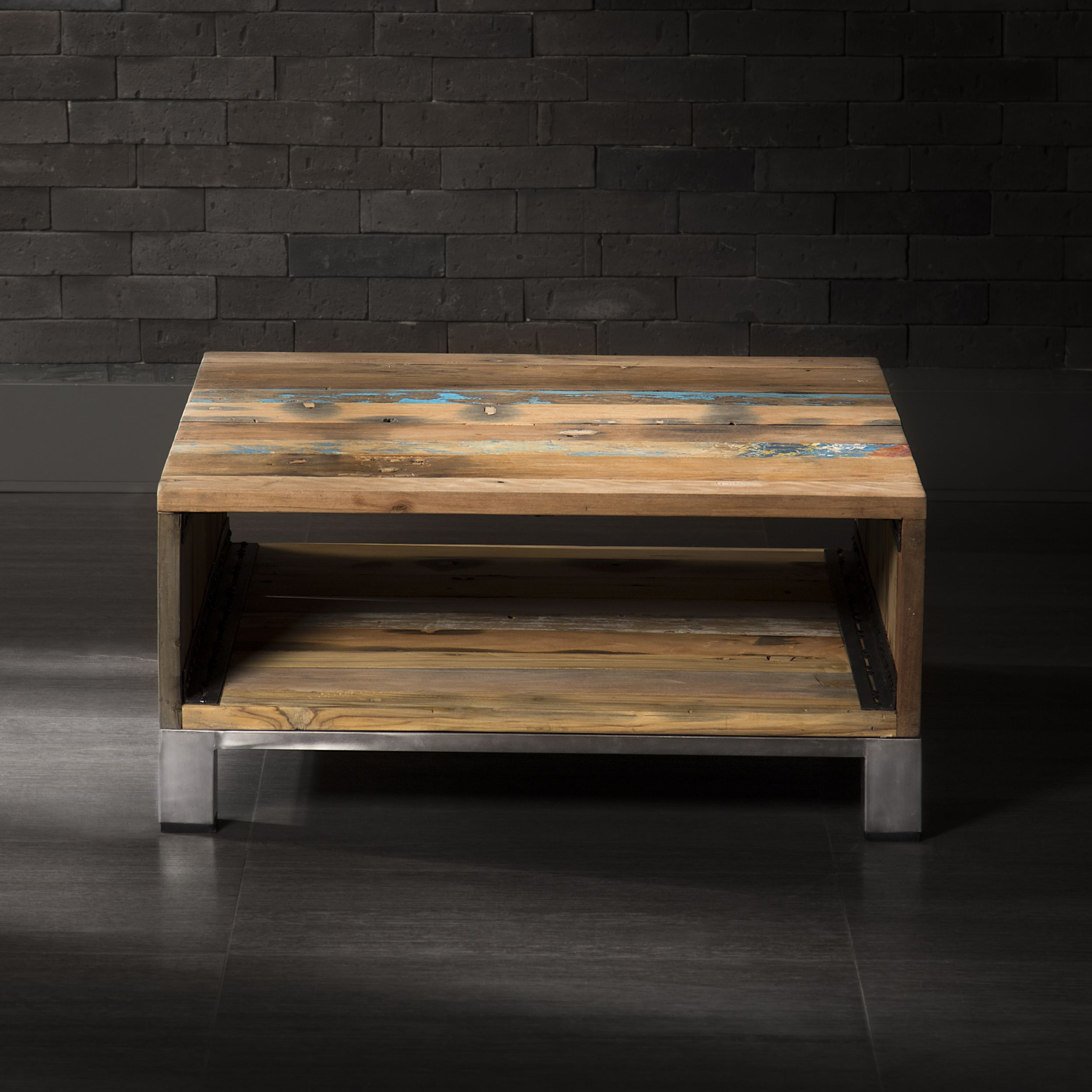 Coffee Table Made Of Recycled Boat Wood Bois Recycle Mobilier De Salon Table Cafe