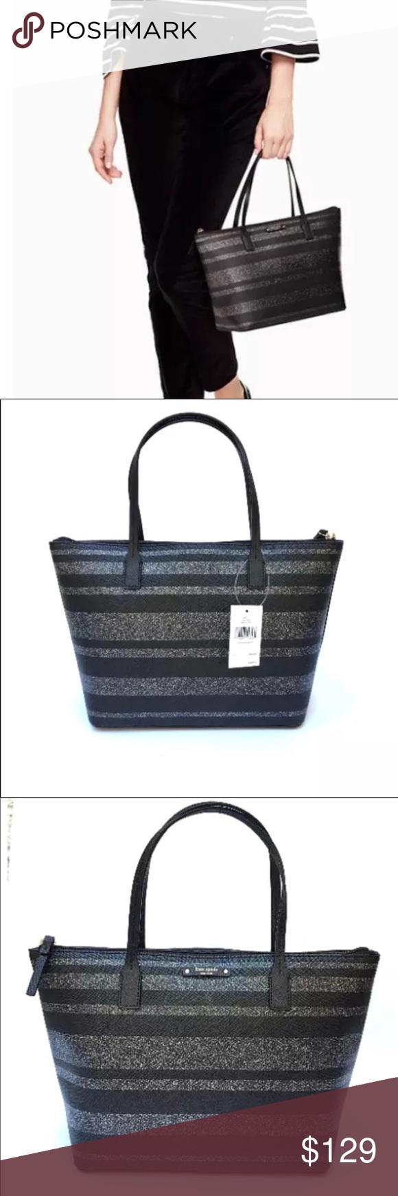 3de2a121a5161 Kate Spade Hani Haven Ln.Black Glitter Stripe set Listing includes both  handbag and