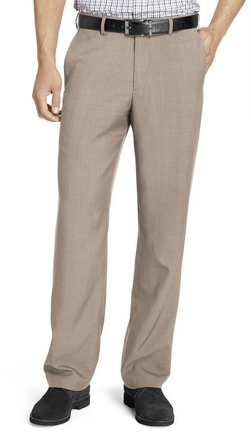 Van Heusen Mens Dress Pants Slim Flat Front No Iron Permanent Crease