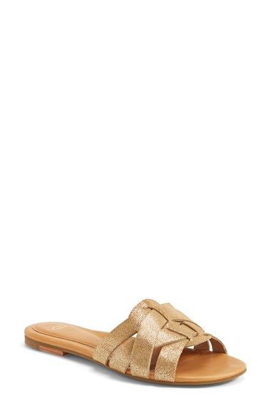 UGG® Australia 'Chanez' Metallic Leather Slide Sandal (Women) available at #