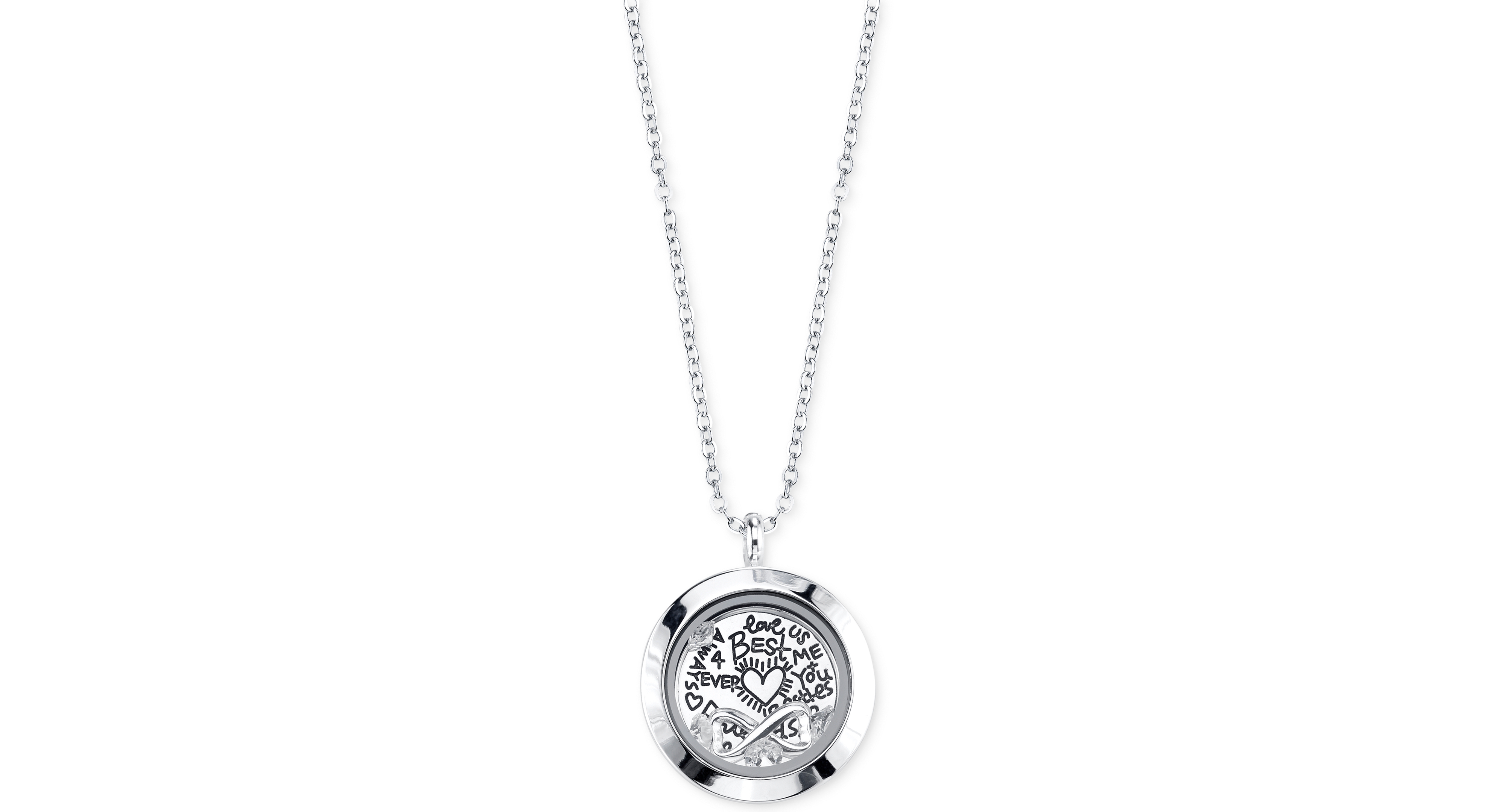 Unwritten Best Friends Forever and Crystal Interchangeable Locket Necklace in Silver-Plated Stainless Steel