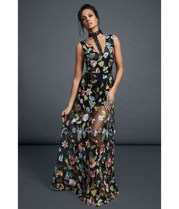Alesha Dixon Flower Embroidered Mini Dress with Sheer Detail ...