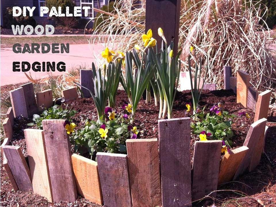 Diy pallet wood garden edging easy garden ideas tips for Homemade garden edging ideas