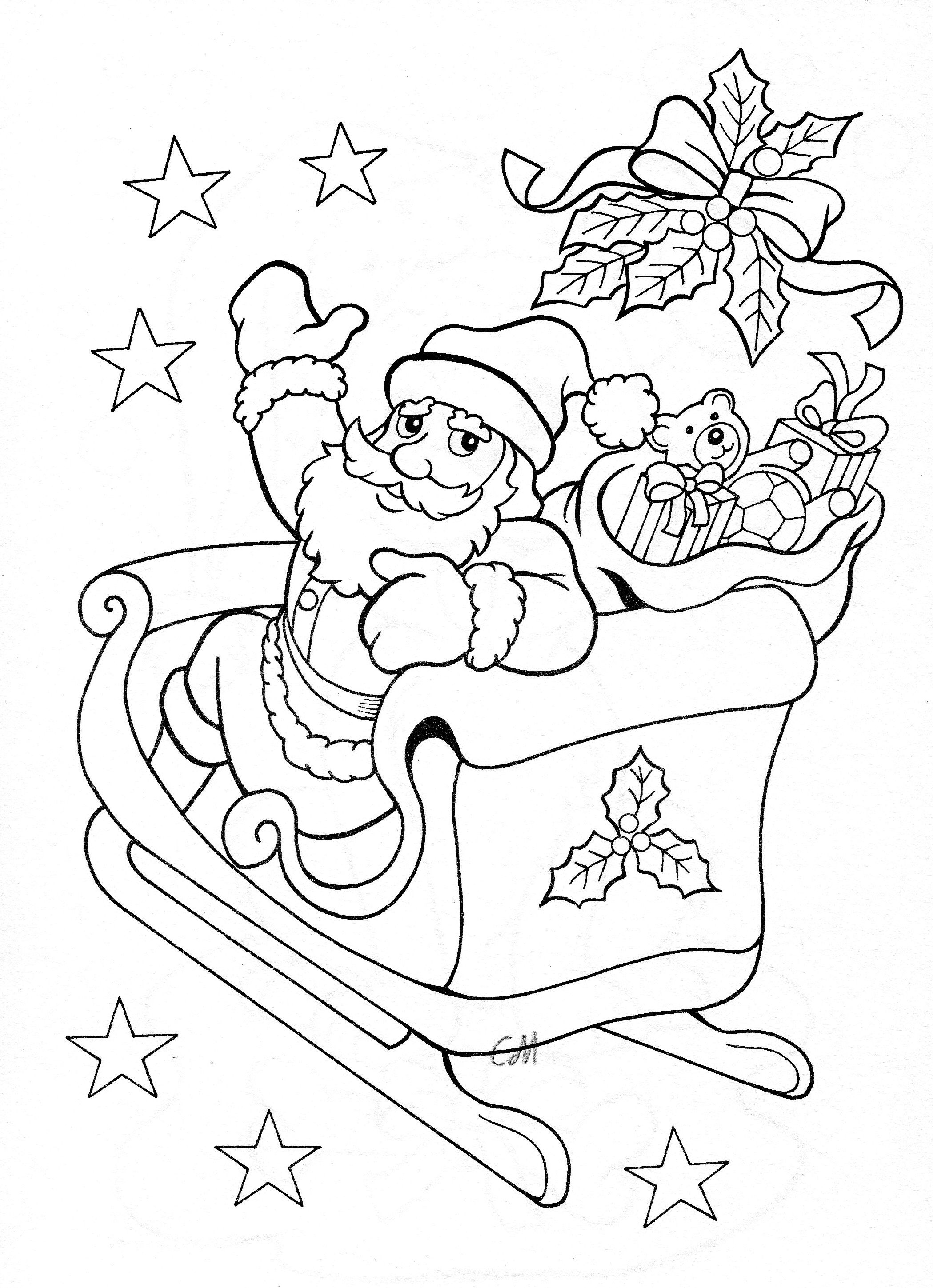 Santa in sleigh | Coloring-Christmas | Pinterest | Santa, Adult ...