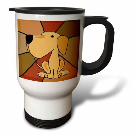 3dRose Funny Yellow Labrador Retriever Art, Travel Mug, 14oz, Stainless Steel