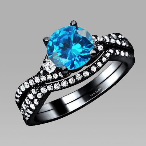 vintage aaa quality blue cubic zirconia 925 sterling silver black engagement wedding ring bridal set - Black And Blue Wedding Rings