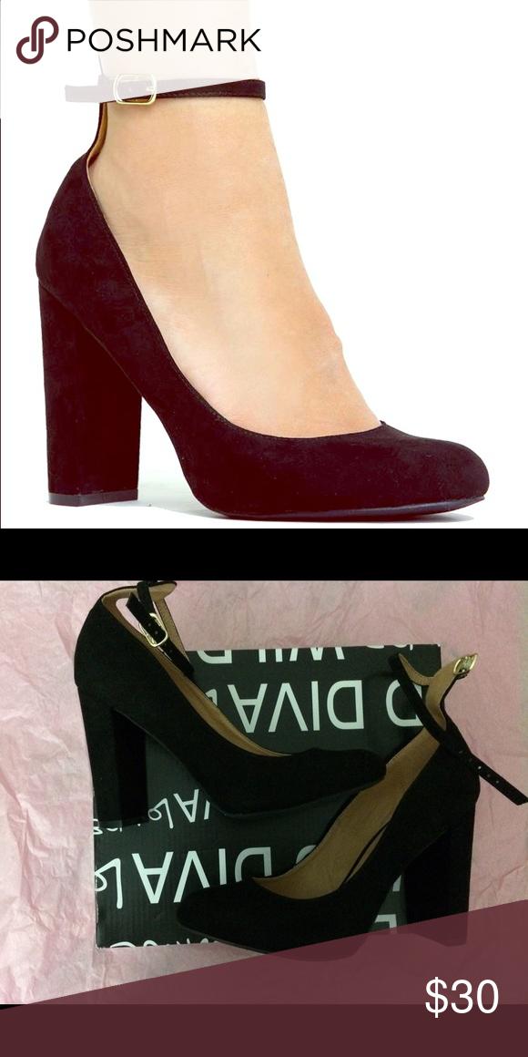 6919139b8cd4 Black suede ankle strap pumps 💕 Never been worn Wild Diva heels in suede!