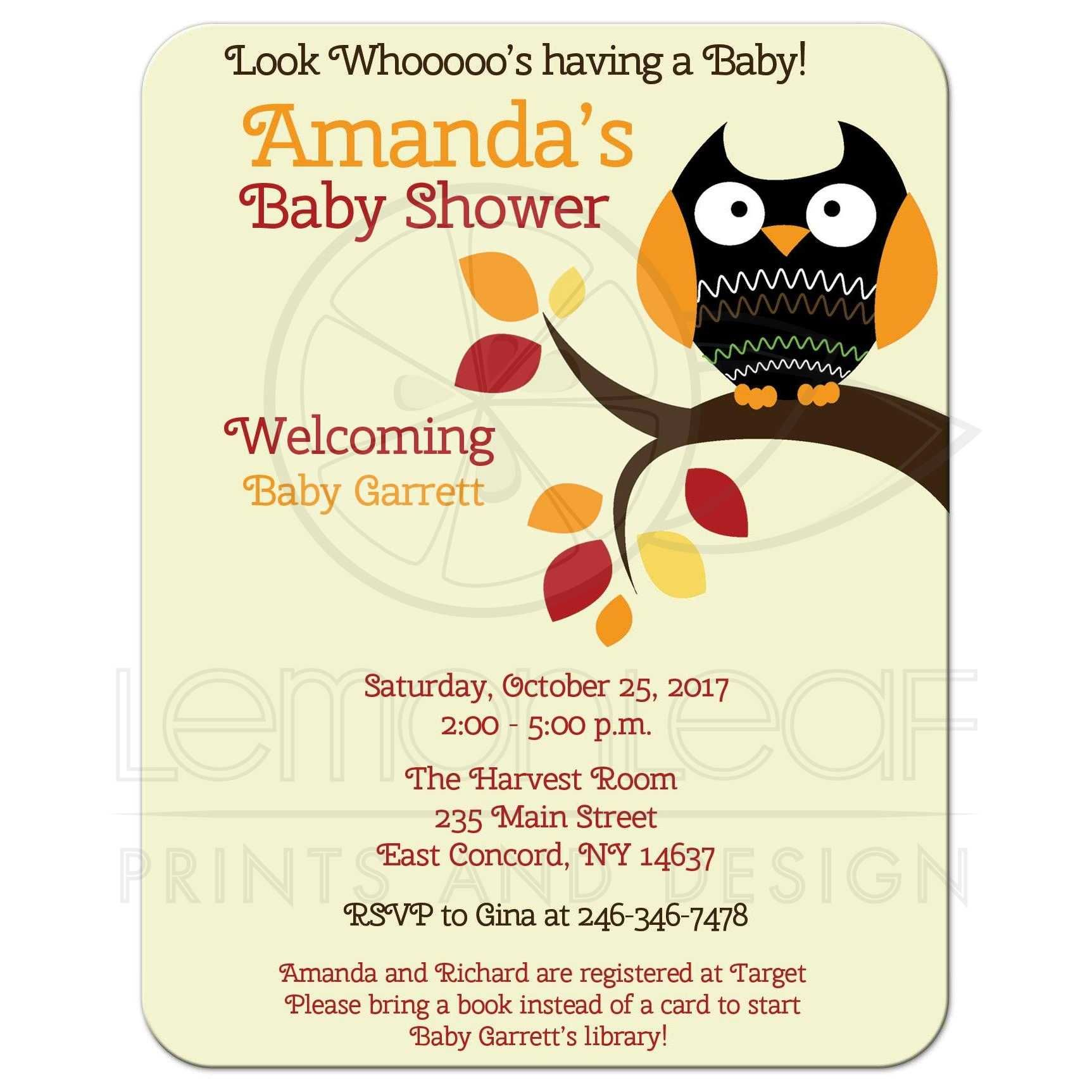Autumn Owl Halloween Gender Neutral Baby Shower Invitation | Shower ...