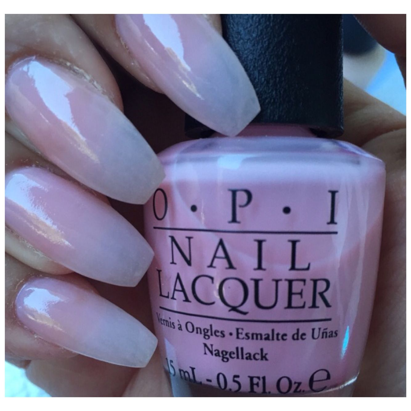 2 coats of OPI It\u0027s A Girl over regular (clear) acrylic