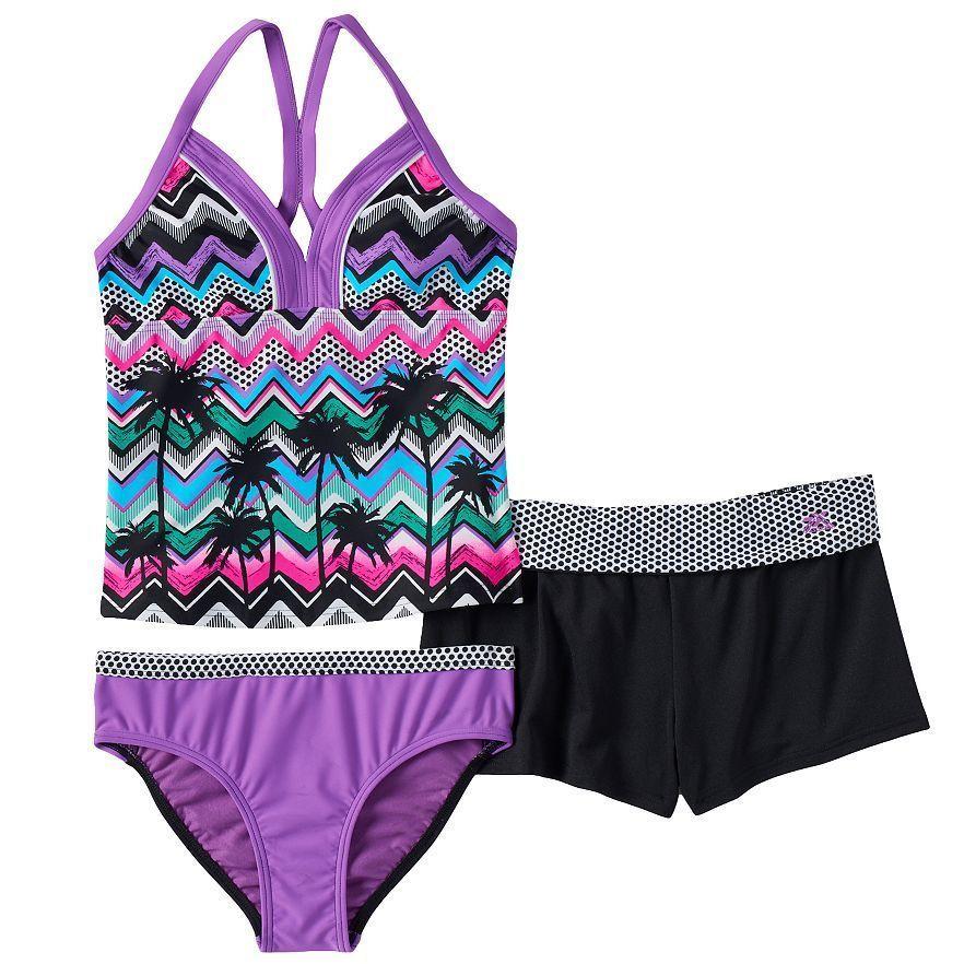 caf3a682a2bd8 Girls ZeroXposur 3 Pc Halterkini Swimsuit Set in Orchid -Size 12 NWT  #ZeroXposur #HalterkiniSwimsuitSet