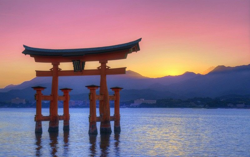 Japan Itsukushima Gates Torii Sunset Tide Hd Wallpaper Woodburning