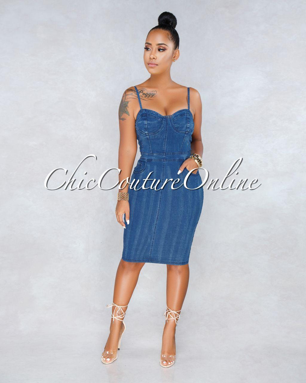 0740671f98 Chic Couture Online - Manzie Blue Denim Bodycon Dress Denim Bodycon Dresses