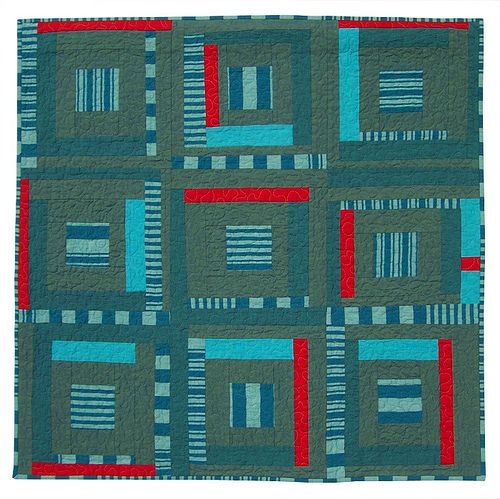 Study In Blues And Red Modern Art Quilt Quilt Design Quilt Top