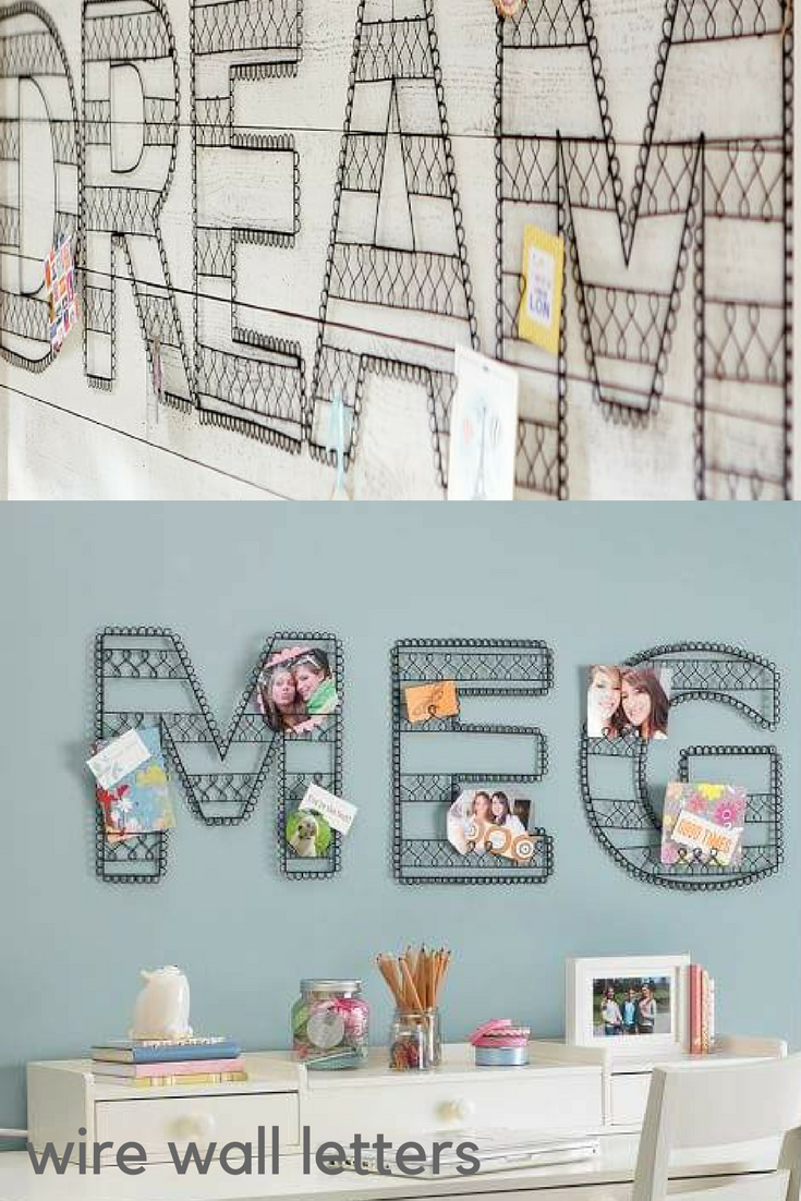 Love these black iron Wire Wall Letters from Pottery Barn Teen ...