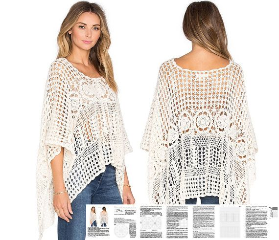 Crochet Poncho Pattern Detailed Tutorial In English For Every Row