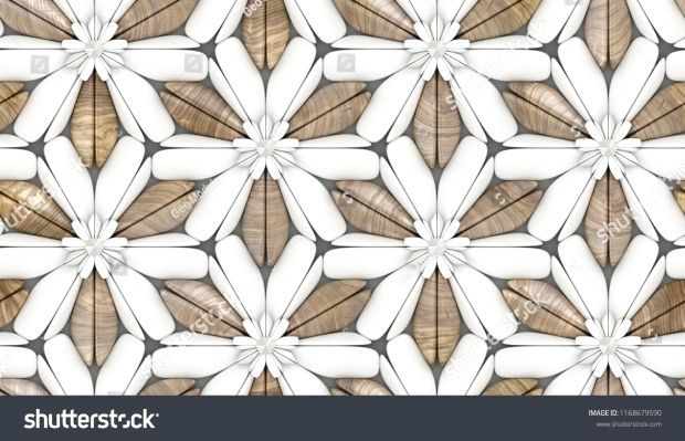 3d white foliage tiles with wooden walnut elements background. Material wood wal...