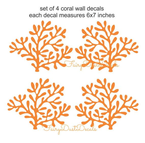 Coral wall decals, ocean beach fish wall decals, under the ...