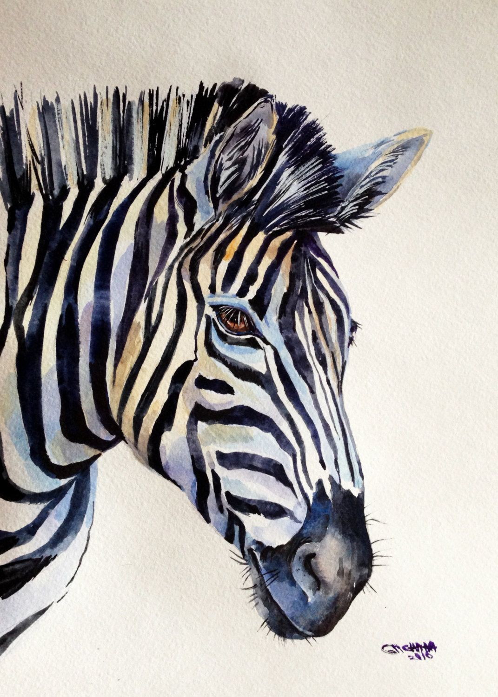 630ac7273 ORIGINAL WATERCOLOR PAINTING Zebra Portrait, Wildlife Animal, African  Animal by alisiasilverART on Etsy