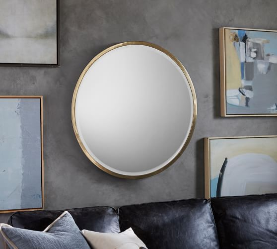 Layne 36 Round Wall Mirror 36 Round Wall Mirror Mirror Wall Bedroom Mirror Wall Living Room 36 inch round mirror