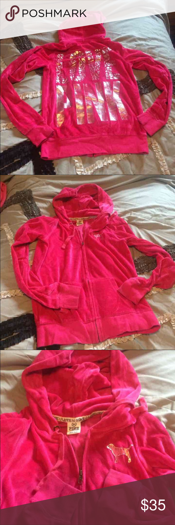 PINK velour hoodie Soft and great condition. I don't see anything wrong with this hoodie. The lettering is a little faded, but I kinda like that look. Check out my other hoodies.  Size small, color is a hot pink PINK Victoria's Secret Sweaters