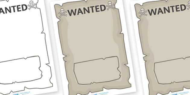Create Your Own Pirate Wanted Display Poster - Pirate, Pirates - printable wanted posters