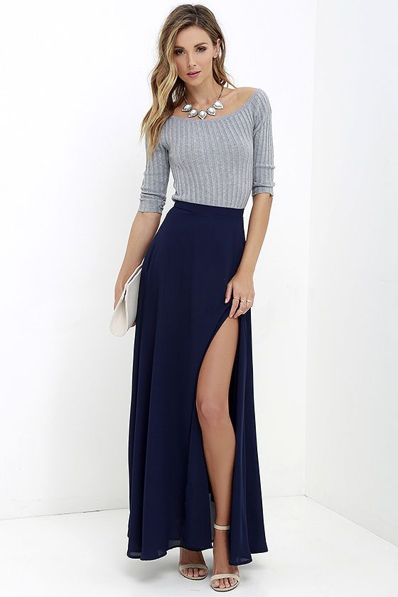 Seaside Soiree Navy Blue Maxi Skirt | Blue maxi, Navy and Navy blue