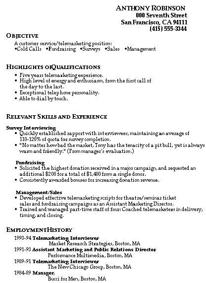 Good Customer Service Skills Resume #488 - http\/\/topresumeinfo - telemarketing resume