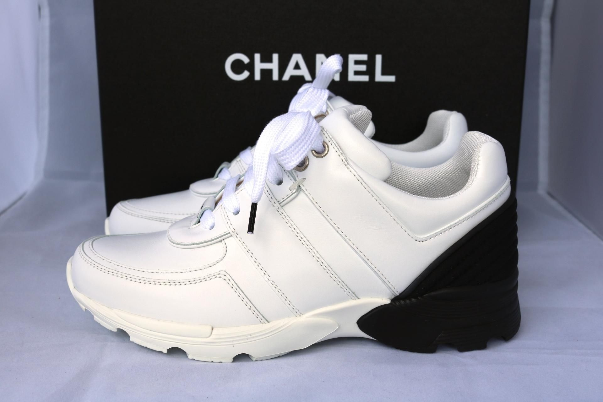 Chanel Black Leather Mesh Sneakers Tennis Trainers 35 White Athletic Shoes.  Get the must-