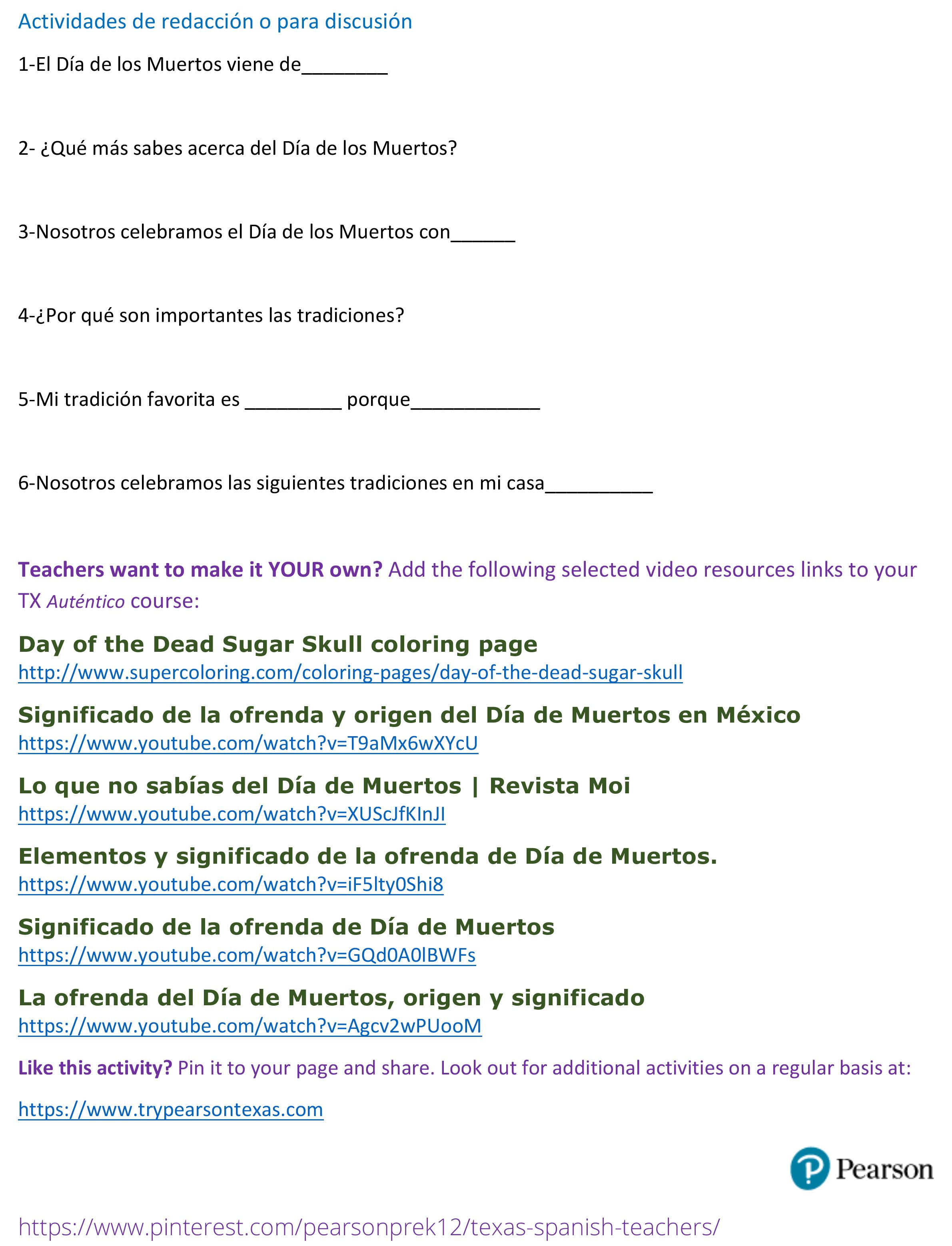 Uncategorized Pearson Editable Worksheets day of the dead activity page 2 pearson texas autentico spanish program tryautentico