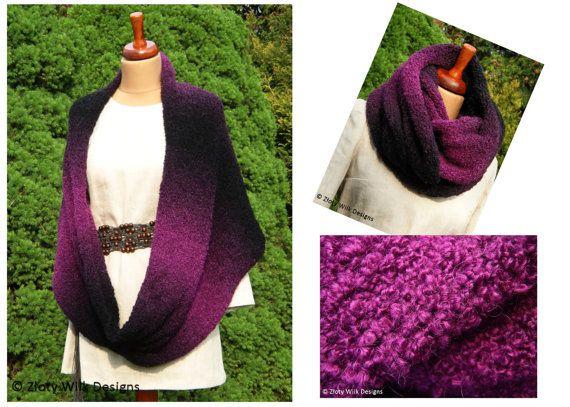Rainbow boucle scarf elegant purple by zlotywilk on Etsy