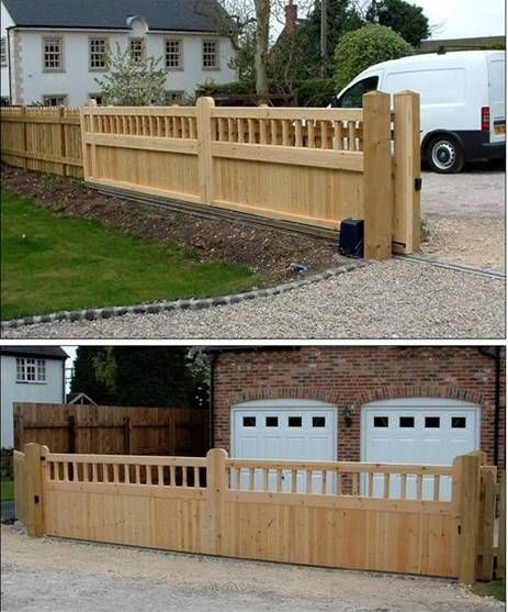 Sliding driveway gate outdoor design ideas ioutdoor for Wooden sliding driveway gates