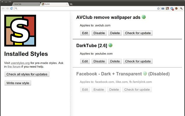 Stylish Extension For Chrome Restyle The Web With Stylish A User Styles Manager Stylish Lets You Easily Install Themes And Skins For Google Facebook
