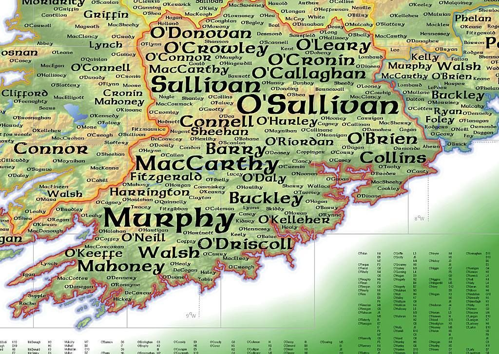 The Design For Print Version Of Geo Genealogy Irish Surnames Map Used Name Labels As Proportional Symbols