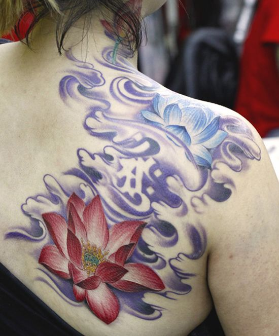 41 lotus flowers tattoos that are absolutely beautiful for Japanese wave and flower tattoo
