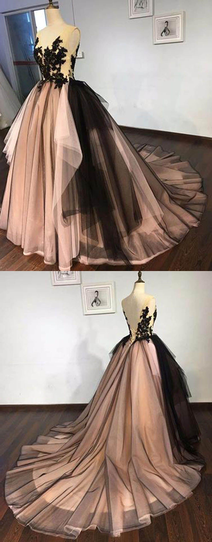 Charming black lace v neck long train aline formal prom dress long